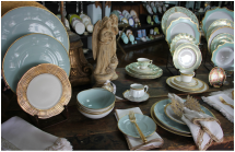 Arrangement of plates and china